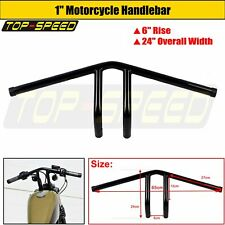 "MOTORCYCLE CNC STEEL PULLBACK T-BAR 1"" BLACK HANDLEBAR FOR HARLEY CHOPPER BOBBER"