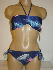 Roxy dark blue 2 pc bikini set swimsuit padded leaf print bandeau-M-NWT-$86.