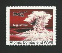 """ATOMIC BOMBS END WWII - U.S. POSTER CINDERELLA POSTAGE """"STAMP"""" - MINT CONDITION!"""