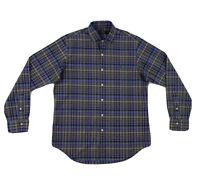 Polo Ralph Lauren Plaid Dress Shirt Mens Medium Long Sleeve Blue Button Down