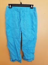 WOMENS SIZE 2 TURQUOISE BLUE CAPRI PANTS TEAL BLUE LADIES CLOTHING