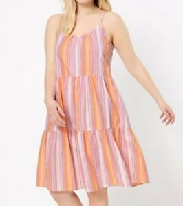 M&S COLLECTION Pure Cotton Striped Strappy Nightdress UK Size 16