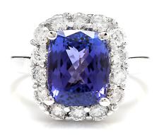 5.80 Carats NATURAL TANZANITE and DIAMOND 14K Solid White Gold Ring