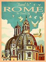Travel to Rome Italy Eternal City  Retro Wall Decor Travel Art Poster Print