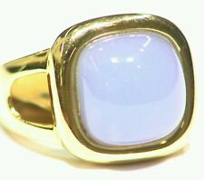 14K Solid Gold Natural Cut Lavender Chalcedony Vintage Engagement Ring Retro
