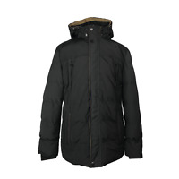 JTQ Mens Black Puffer Jacket Size 4XL Hooded Padded Quilted Winter Coat