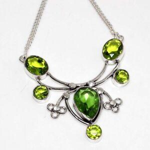 "Peridot Ethnic Handmade Gemstone Necklace Jewelry 17"" JW"