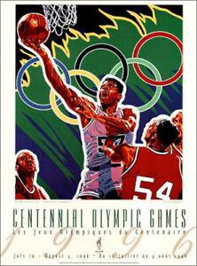 Atlanta 1996 Olympics MEN'S BASKETBALL Official Original Event POSTER