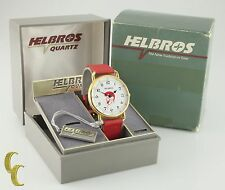 Men's Helbros Gold-Plated Quartz Watch Red Leather Band Jerry Lewis Dial w/ Box