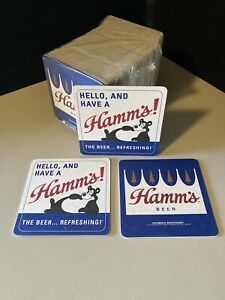 NEW 100 Hamm's Bear Beer Coasters Bar Glass Mat Coaster Sealed Pack Hamms