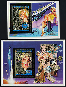 Central Africa Gold & Silver Foil s/s MNH Marlyn Monroe, Rocket, Satellites
