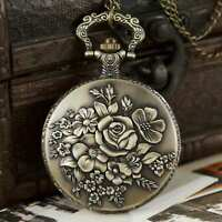Flower Vintage Steampunk Retro Bronze Pocket Watch Quartz Pendant Necklace Chain