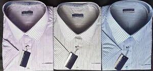Mens Big Short Sleeve Stripe Office Shirts 3XL 4XL 5XL 6XL Top Pocket Polycotton