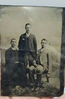 Antique Victorian Tintype Photograph Men Group Photo Brothers #2
