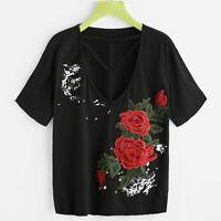 mode femme floral brodé CHEMISIER Applique manche courte t-shirt haut gilet