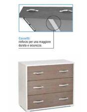 Como' maxy a 3 cassetti moderno per camera da letto col.bianco larice grigio