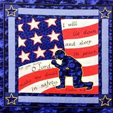 Military Soldiers Prayer Psalm 4:8 Soldier Cotton Fabric Pillow Panel