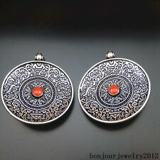 51177 Antique Silver Alloy Enamel Carving Pattern Round Charms Pendants Craft 3x