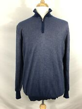 RARE Recent Lanficio Colombo Cashmere Silk Navy Birdseye Quarter Zip Sweater 52