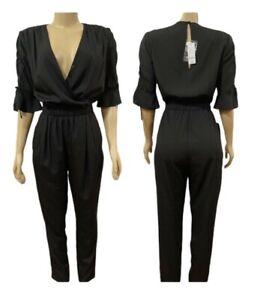 bebe 3/4 Sleeve Cold ShoulderJumpsuit Medium Black