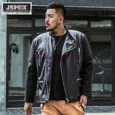Para hombres Moda Abrigo Chaqueta de cuero elegante Outwears Punk Motocicleta Plus Sz 7XL