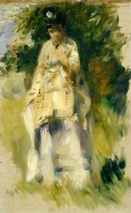 Woman Standing by a Tree by Pierre-Auguste Renoir 60cm x 37cm Art Paper Print