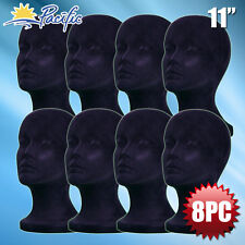 "11"" STYROFOAM FOAM black velvet MANNEQUIN MANIKIN head display wig hat glass 8pc"