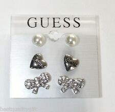 NEW SET OF 3 GUESS SILVER TONE EARRINGS; PEARL STUDS+RHINESTONE BOWS+LOGO HEARTS