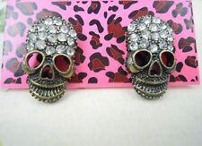 Girl Skeleton Ear Ring Girls Rock Style Rhinestone Bow Skull Charm Stud Earrings