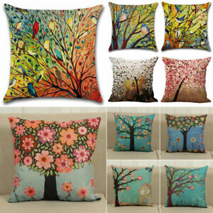 Tree Flower Bird Animal Floral Cushion Cover Waist Throw Pillow Case Decorations