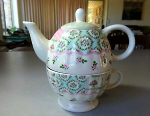 """Robert Gordon Teapot & Cup Combo Set """"Stitches"""" Embroidery Design - Immaculate!!"""