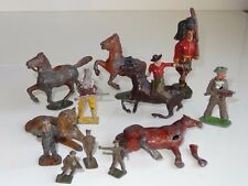 LOT OF 12 WHITE METAL / TIN DIECAST FIGURES britains johillco charbens