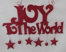 RED GLITTER JOY TO THE WORLD SIGN METAL HANGING~XMAS~WALL DECOR~HOLIDAY