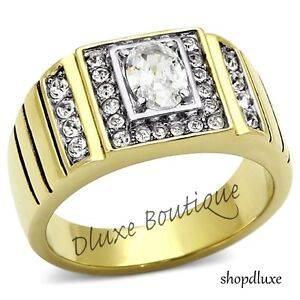 1.65 CT OVAL CUT AAA CZ 14K GOLD PLATED STAINLESS STEEL RING MEN'S SIZE 8-13