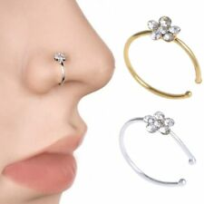 2PCS Copper plating Crystal Flower Nose Ring Women Ear Tongue Fake Piercing