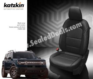 2021 Ford Bronco Sport Base Black Katzkin Leather Seat Covers Replace Your Cloth