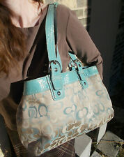 Coach F14485  Soho Signature Tote Shoulder Bag Extra Large Turquoise Beige Purse