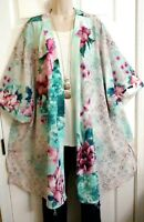 Catherines NWT Artsy Kimono Duster Floral Watercolor Jacket Top PLUS 1X 18W 20W