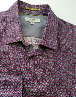 TED BAKER LONDON MENS SHIRT M SIZE 3 RED BLUE FLORAL LONG SLEEVE 267