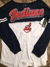 New Womens XL Cleveland Indians LS Shirt Genuine MLB Top NWT $44
