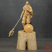 """11"""" China natural Wood hand Carved Boxwood Great monk Fengshui Statue"""
