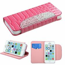 For iPhone 5/5s Authent Genuine Real Leather Flip Magnet Wallet Case Cover Pink
