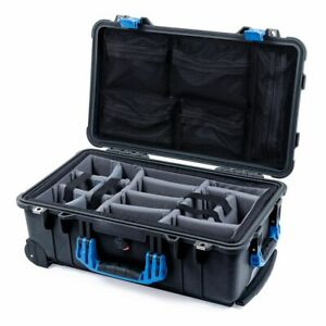 Black & Blue Pelican 1510 case with padded dividers (Grey) & mesh lid org.
