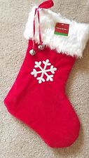 MONOGRAMMED PLUSH CHRISTMAS STOCKING w/ Bells, SNOWFLAKE  Xmas Decoration NEW!