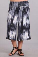 e0d2840da3c Plus Tie Dye Pants Cropped Culottes Wide Leg Gaucho Casual Black High Waist