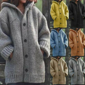 Womens Chunky Knitted Cardigan Ladies Warm Sweater Coat Jackets Jumper Winter AU