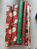 Lot Vintage Assorted Christmas wrapping paper Gift Wrap Sheets floral crafting
