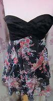 ASOS Ladies Black & Floral Lined Short Dress Size 10