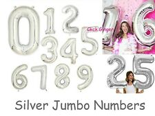 Silver Foil Number Balloon Jumbo Size Helium Quality Birthday Balloons 21st 18th