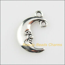 20 New Pendants Smile Face Moon Tibetan Silver Tone Charms Connectors 12x18mm
